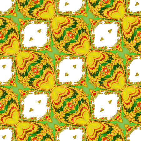 scalloped: Abstract seamless fractal pattern with yellow and green stylized butterflies. Scalloped Ornamental fractal pattern on a white background