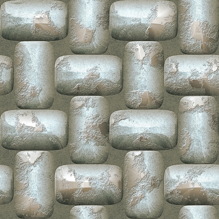 nuggets: Abstract seamless pattern of 3d rounded silver nuggets. Mosaic tiled pattern of scratched silver bars