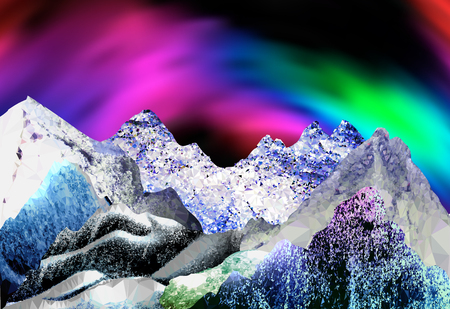 aurora borealis: Abstract arctic landscape with aurora borealis. Panoramic winter landscape with peaks of crystals and polygons