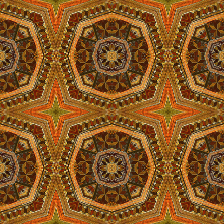 inlaid: Kaleidoscopic Wooden seamless mosaic pattern with stars. Carved wooden pattern inlaid with colored straw