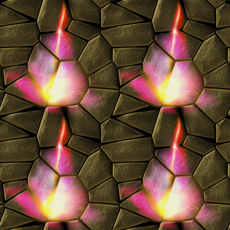 Seamless relief stone pattern with flames. Pavement floor pattern of gold hot stones and fire