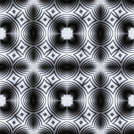 black floor: Abstract seamless black and white circular pattern Kaleidoscopic. Mosaic floor seamless pattern
