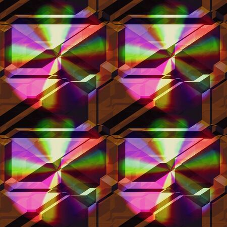 spectral: Seamless 3d pattern of pyramidal blocks with spectral rays. Brown background with rainbow pattern