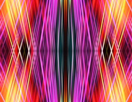 Abstract pink, orange, yellow and black background of intersecting spectral rays. Green, orange, pink, white and blue background. Abstract background with a grid of laser beams