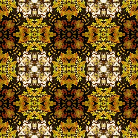 brown pattern: Kaleidoscopic Abstract seamless pattern in autumn colors. Brown, red, white and yellow seamless mosaic pattern with stylized flowers
