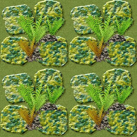 pave: Natural seamless pattern of green and gold stones and ferns. Pattern with wild plants and stones on Waterlogged soil Stock Photo