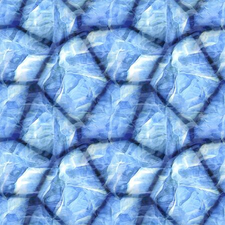 ice surface: Seamless stone pavement pattern with frozen surface. Blue and white background with sharp stones covered with ice Stock Photo