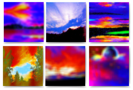 Set of polygonal landscapes with sky, trees, moon and clouds. Dramatic red and blue day and night sky with sunset and stylized landscapes of polygons