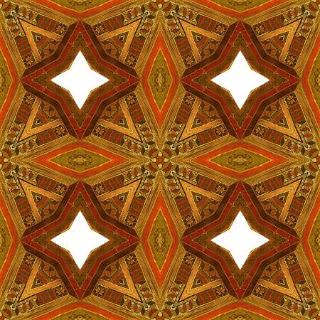 inlaid: Abstract seamless vintage wooden pattern with red, brown and orange stars. Kaleidoscopic ornamental pattern inlaid with wooden texture Stock Photo