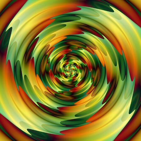 Abstract background of intertwining concentric rippling pattern creating an illusion of movement. Green, red, orange and gold background of swirling circular shapes