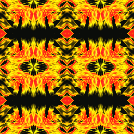 infernal: Abstract seamless infernal Kaleidoscopic pattern with yellow and red fires. Gold and red hot pattern with stylized flames on a black background