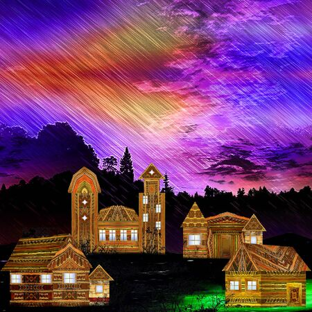 dramatic sky: Landscape with carved wooden houses, church, dramatic sky and silhouettes of trees. Panoramic landscape with heavy rain, clouds and village