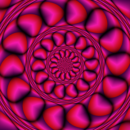 vibrating: Abstract 3d background of concentric shapes creating the illusion of a three dimensional object. Red, purple and pink rotating layered background with stylized hearts