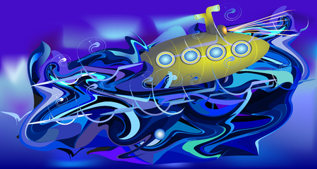 Turbulent water background with submarine. Dark blue, white and purple rippling water with gold surfacing submarine