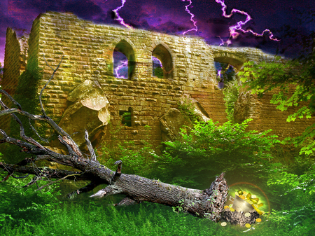 dramatic sky: Mysterious golden treasure under toppled tree hidden in bushes next to ancient castle Revealed During a lightning storm. Landscape with castle ruins, dramatic sky with lightning and tree Stock Photo