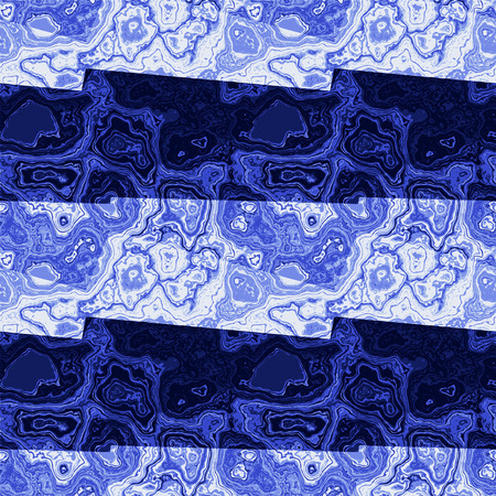 Abstract marbled pattern of blue and dark blue stripes and veins. Blue and white marble texture with intertwined veins Illustration