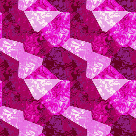 Abstract marbled texture of mottled polygonal shapes. Pink, red and white marble background of polygons