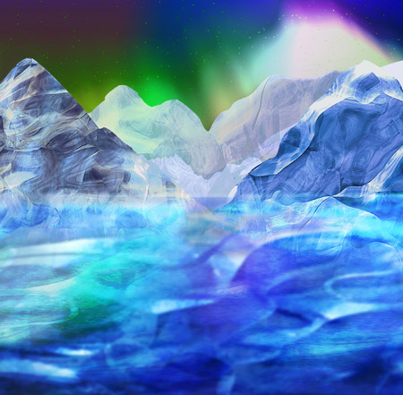 northern light: Abstract arctic landscape with mountains, sea and aurora. Panoramic winter landscape with glaciers, ocean and frozen peaks