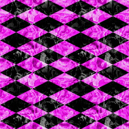 Seamless marbled pattern of black and pink rhombuses. Pavement floor pattern with veined marble texture