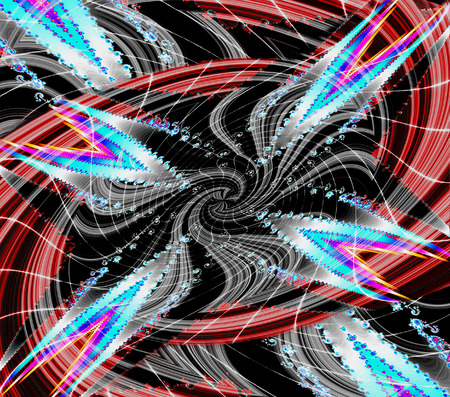 Abstract fractal background with rotating spirals and glowing stars. Red, black, white, pink and blue fractal creating an illusion of movement