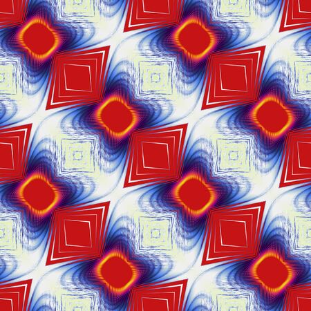 spiked: Abstract seamless fractal pattern with rounded squares and rhombuses. Red, blue and yellow geometric pattern on a white background