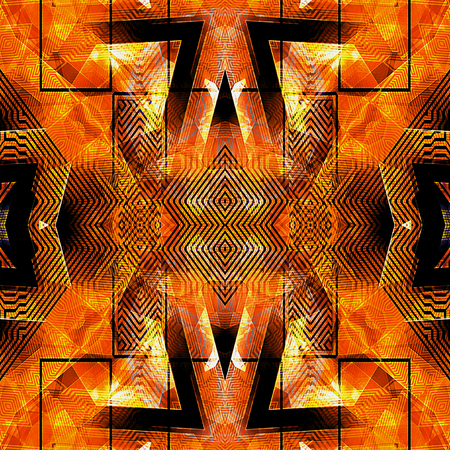 prisma: Abstract orange, red and black futuristic background with arrows, triangles, rectangles and contour lines. Red, yellow, orange and black background with geometric pattern