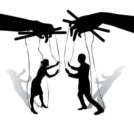 Due burattini umani parlano e argomentano. Mani che tengono le corde con sagome di uomini e donne