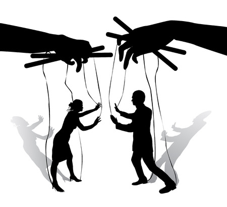Two human puppets talk and Argue. Hands holding the strings with silhouettes of men and women