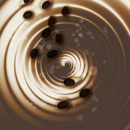 抽象的なコーヒー豆とホット コーヒーに似ている旋回の背景を回転させます。茶色と白の液体作成および動きの錯覚