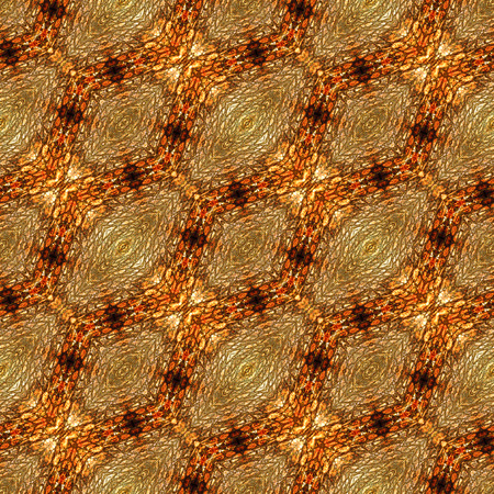 Abstract seamless pattern with scales, oval shapes and stylized reptile texture. Brown, yellow and orange pattern generated with snake skin