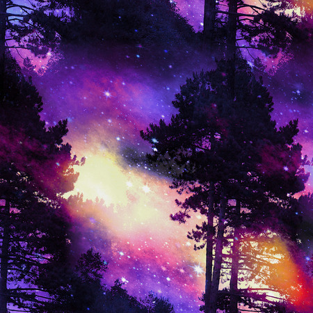 Imaginary forest landscape at sunrise with stars, clouds and dramatic silhouettes of trees. Blue, red, yellow, black and purple wild landscape with Conifers Stock Photo