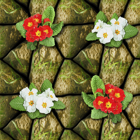 Natural seamless pattern of stones with grass and blooming flowers. Red and white Primroses on a background of stones and clay