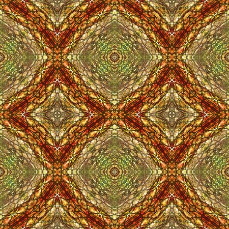 Abstract seamless pattern of beveled squares, scales and stylized reptile texture. Brown, red and green pattern generated with snake skin