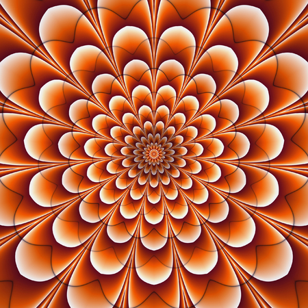vibrating: Abstract background of concentric glowing flowers creating an illusion of movement. Orange, red and white rotating background with stylized flower. 3d illustration