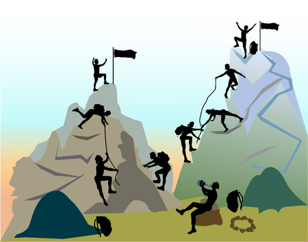 Mountain landscape with silhouettes of climbers. Group of tourists with backpacks and ropes rises to the mountains
