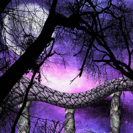 Dark Night landscape with trees, moon and Stone Bridge. Dramatic dark sky with stars, moonlight, branches and arched bridge
