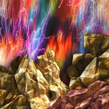 Dynamic background with cracked rocks and dramatic sky. Volcano with flames and rays. Red, blue, green and blue glowing background with stones Stock Photo