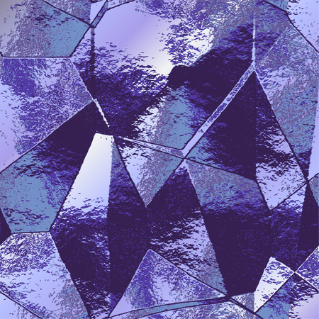 Abstract polygonal background resembling brushed folded metal foil. Blue and silver wrinkled cracked pattern