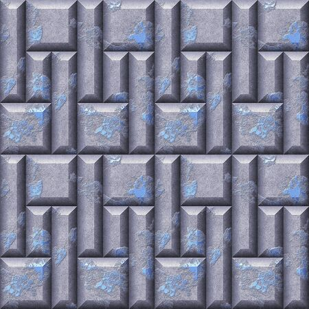 Abstract seamless pattern relief of silver and blue scratched squares and rectangles beveled. Silver and blue seamless pattern of 3d mosaic