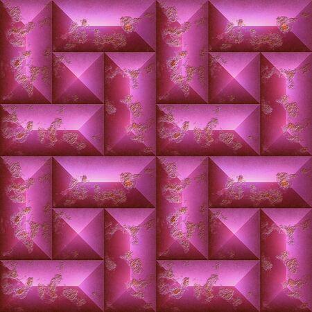 ピンクの傷石の抽象的なシームレス パターン。風化の正方形や長方形のモザイクの背景。3 d レンダリング