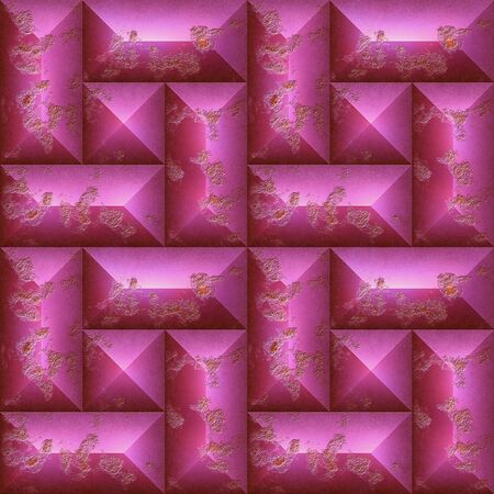 Abstract seamless pattern of pink scratched stones. Mosaic background of weathered squares and rectangles. 3d rendering