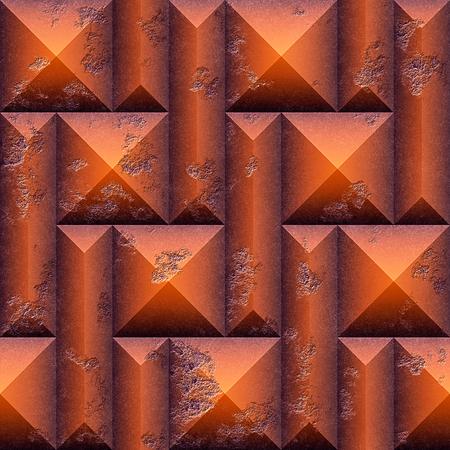 オレンジ色の抽象的なシームレスなパターンは、石を傷しました。オレンジとブラウンの 3 d モザイク ピラミッド型ブロックと面取り長方形のシー 写真素材