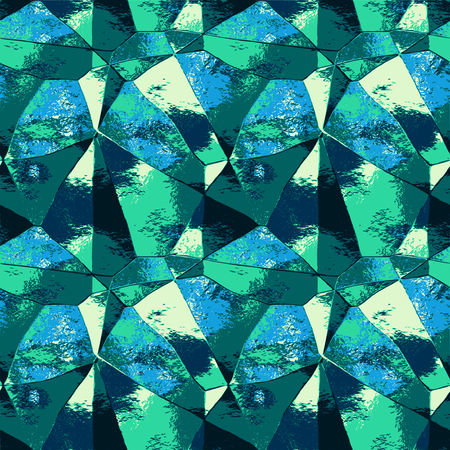 Abstract metal pattern with polygonal texture and spectral rays. Green, blue, yellow and turquoise background resembling folded metal foil Illustration