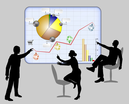 Managers solve work problems using interactive light board with infographic. Silhouettes of two men and women with circular diagrams and graphs Vektorové ilustrace