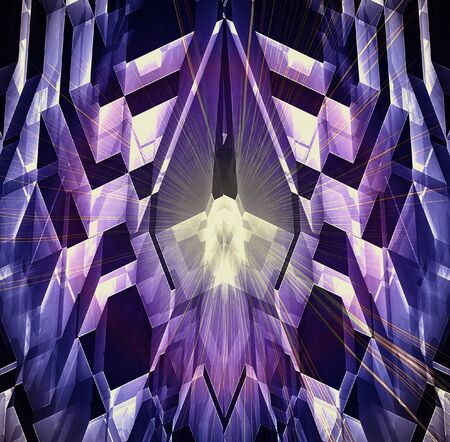 Abstract futuristic background with glowing crystal, polygonal shapes and rays. Blue, purple, pink, yellow and black pattern with laser beams. 3d illustration Stock Photo