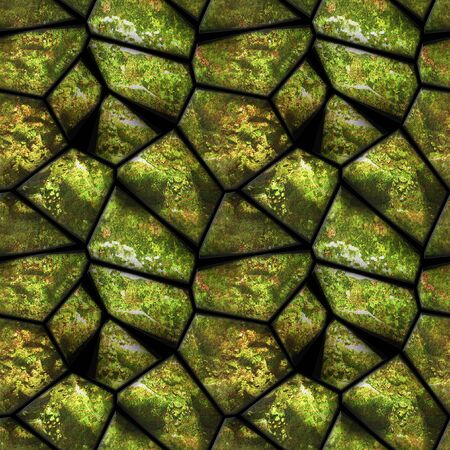 Natural seamless pattern of green stones covered with moss. Background of polygonal stones and organic texture. 3d rendering Stock fotó