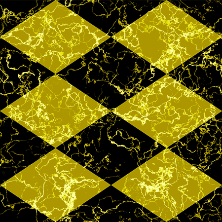 Abstract mosaic pattern of beveld squares. Black and gold veined marble background