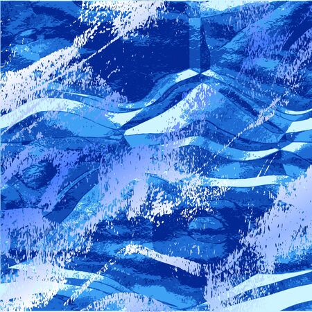 Abstract wavy grunge background resembling water surface. Rippling blue and white pattern with splashes of water Illustration