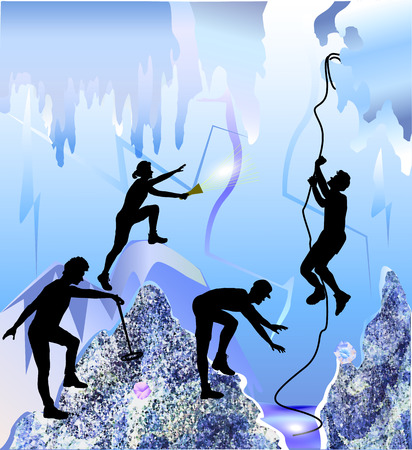 caving: Ice cave with silhouettes of peoples, stalactites and ice rocks of crystals. Polygonal underground space with cave explorers. Four speleologists with rope, metal detector and torch