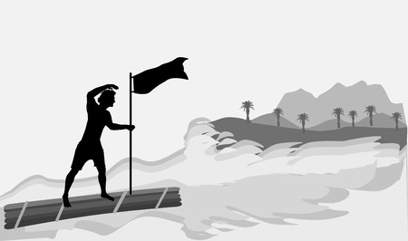 castaway: Man on a wooden raft approaching the island. Black silhouette of a boy with flag and gray island with mountains and palm trees